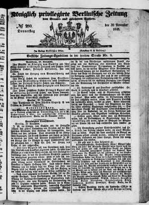 Königlich privilegirte Berlinische Zeitung von Staats- und gelehrten Sachen vom 30.11.1848