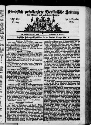 Königlich privilegirte Berlinische Zeitung von Staats- und gelehrten Sachen vom 01.12.1848