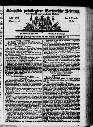 Königlich privilegirte Berlinische Zeitung von Staats- und gelehrten Sachen vom 02.12.1848