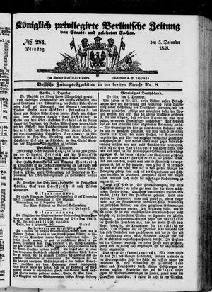Königlich privilegirte Berlinische Zeitung von Staats- und gelehrten Sachen vom 05.12.1848