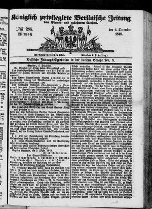 Königlich privilegirte Berlinische Zeitung von Staats- und gelehrten Sachen vom 06.12.1848