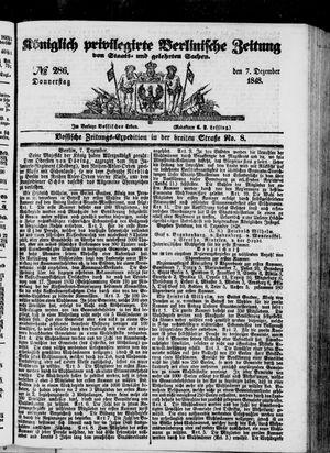 Königlich privilegirte Berlinische Zeitung von Staats- und gelehrten Sachen vom 07.12.1848