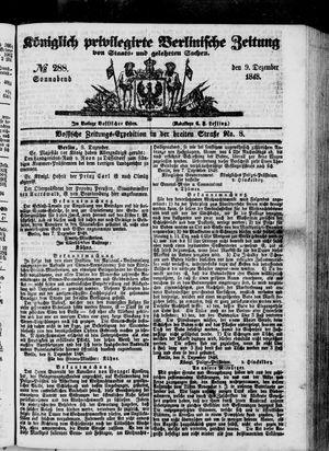 Königlich privilegirte Berlinische Zeitung von Staats- und gelehrten Sachen vom 09.12.1848