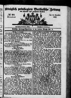 Königlich privilegirte Berlinische Zeitung von Staats- und gelehrten Sachen vom 16.12.1848