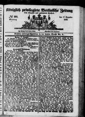 Königlich privilegirte Berlinische Zeitung von Staats- und gelehrten Sachen vom 17.12.1848