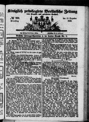 Königlich privilegirte Berlinische Zeitung von Staats- und gelehrten Sachen vom 19.12.1848