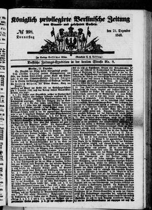 Königlich privilegirte Berlinische Zeitung von Staats- und gelehrten Sachen on Dec 21, 1848