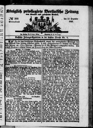 Königlich privilegirte Berlinische Zeitung von Staats- und gelehrten Sachen vom 23.12.1848