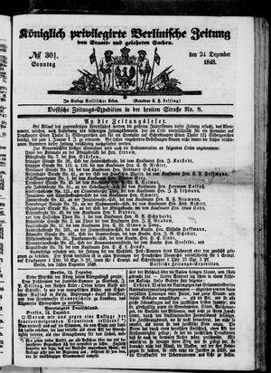 Königlich privilegirte Berlinische Zeitung von Staats- und gelehrten Sachen vom 24.12.1848