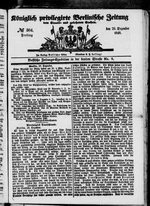 Königlich privilegirte Berlinische Zeitung von Staats- und gelehrten Sachen vom 29.12.1848