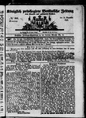 Königlich privilegirte Berlinische Zeitung von Staats- und gelehrten Sachen vom 31.12.1848