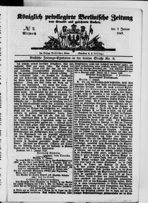 Königlich privilegirte Berlinische Zeitung von Staats- und gelehrten Sachen vom 03.01.1849