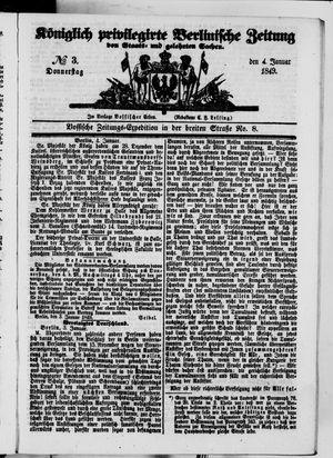 Königlich privilegirte Berlinische Zeitung von Staats- und gelehrten Sachen vom 04.01.1849