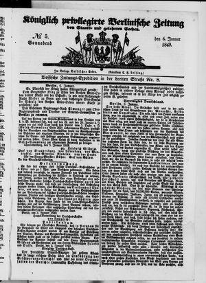 Königlich privilegirte Berlinische Zeitung von Staats- und gelehrten Sachen vom 06.01.1849