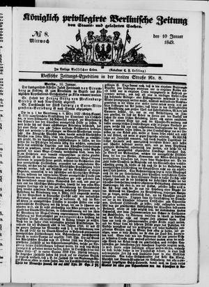 Königlich privilegirte Berlinische Zeitung von Staats- und gelehrten Sachen vom 10.01.1849