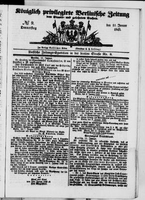 Königlich privilegirte Berlinische Zeitung von Staats- und gelehrten Sachen vom 11.01.1849