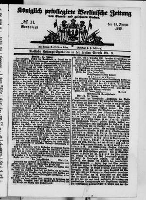 Königlich privilegirte Berlinische Zeitung von Staats- und gelehrten Sachen on Jan 13, 1849