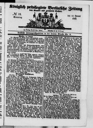 Königlich privilegirte Berlinische Zeitung von Staats- und gelehrten Sachen vom 14.01.1849
