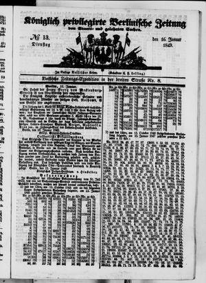 Königlich privilegirte Berlinische Zeitung von Staats- und gelehrten Sachen on Jan 16, 1849