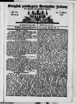 Königlich privilegirte Berlinische Zeitung von Staats- und gelehrten Sachen vom 17.01.1849
