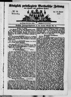 Königlich privilegirte Berlinische Zeitung von Staats- und gelehrten Sachen on Jan 18, 1849