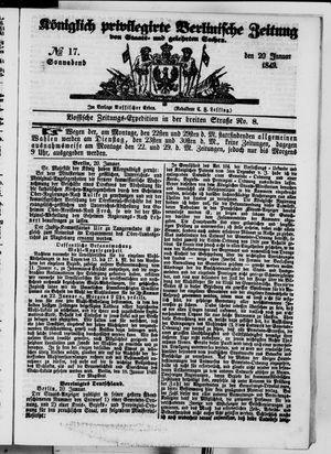 Königlich privilegirte Berlinische Zeitung von Staats- und gelehrten Sachen vom 20.01.1849