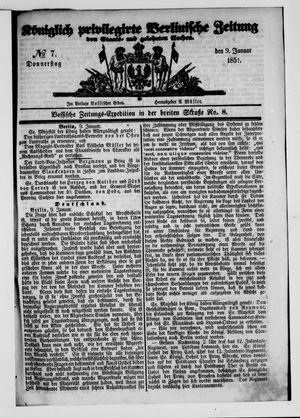 Königlich privilegirte Berlinische Zeitung von Staats- und gelehrten Sachen vom 09.01.1851