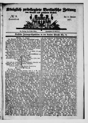 Königlich privilegirte Berlinische Zeitung von Staats- und gelehrten Sachen vom 11.01.1851