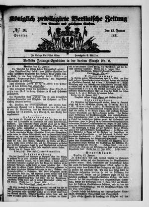 Königlich privilegirte Berlinische Zeitung von Staats- und gelehrten Sachen vom 12.01.1851