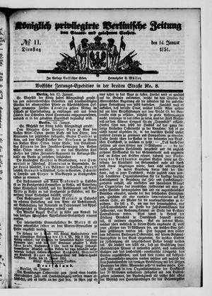 Königlich privilegirte Berlinische Zeitung von Staats- und gelehrten Sachen vom 14.01.1851