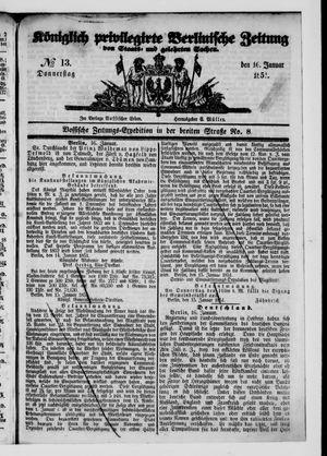 Königlich privilegirte Berlinische Zeitung von Staats- und gelehrten Sachen vom 16.01.1851