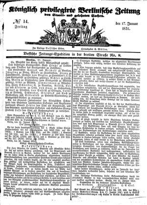 Königlich privilegirte Berlinische Zeitung von Staats- und gelehrten Sachen vom 17.01.1851