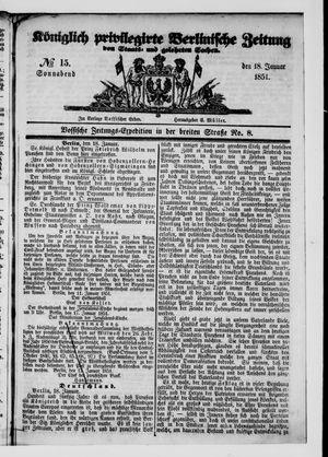 Königlich privilegirte Berlinische Zeitung von Staats- und gelehrten Sachen vom 18.01.1851