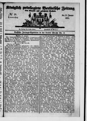 Königlich privilegirte Berlinische Zeitung von Staats- und gelehrten Sachen vom 23.01.1851