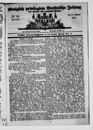 Königlich privilegirte Berlinische Zeitung von Staats- und gelehrten Sachen vom 24.01.1851