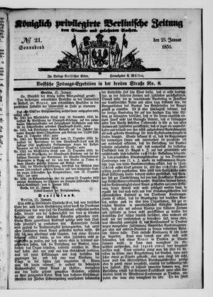 Königlich privilegirte Berlinische Zeitung von Staats- und gelehrten Sachen vom 25.01.1851