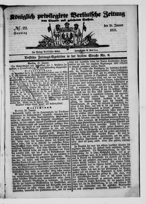 Königlich privilegirte Berlinische Zeitung von Staats- und gelehrten Sachen vom 26.01.1851