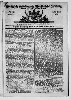 Königlich privilegirte Berlinische Zeitung von Staats- und gelehrten Sachen vom 28.01.1851