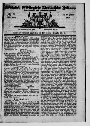 Königlich privilegirte Berlinische Zeitung von Staats- und gelehrten Sachen vom 29.01.1851