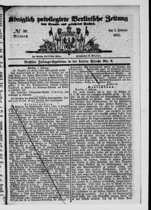 Königlich privilegirte Berlinische Zeitung von Staats- und gelehrten Sachen vom 05.02.1851