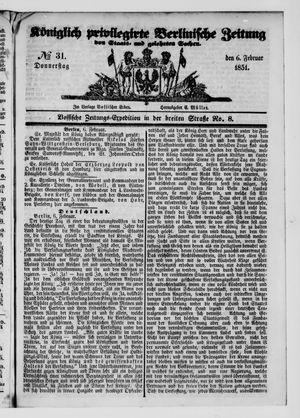Königlich privilegirte Berlinische Zeitung von Staats- und gelehrten Sachen vom 06.02.1851