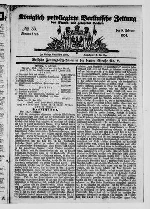 Königlich privilegirte Berlinische Zeitung von Staats- und gelehrten Sachen vom 08.02.1851