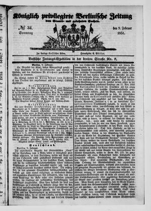 Königlich privilegirte Berlinische Zeitung von Staats- und gelehrten Sachen vom 09.02.1851