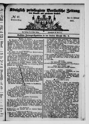 Königlich privilegirte Berlinische Zeitung von Staats- und gelehrten Sachen vom 13.02.1851