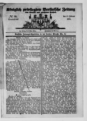 Königlich privilegirte Berlinische Zeitung von Staats- und gelehrten Sachen vom 15.02.1851
