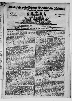 Königlich privilegirte Berlinische Zeitung von Staats- und gelehrten Sachen vom 18.02.1851