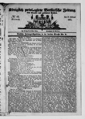 Königlich privilegirte Berlinische Zeitung von Staats- und gelehrten Sachen vom 19.02.1851