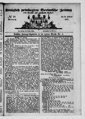 Königlich privilegirte Berlinische Zeitung von Staats- und gelehrten Sachen vom 26.02.1851