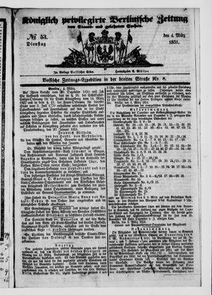 Königlich privilegirte Berlinische Zeitung von Staats- und gelehrten Sachen vom 04.03.1851