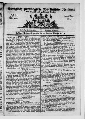 Königlich privilegirte Berlinische Zeitung von Staats- und gelehrten Sachen vom 05.03.1851